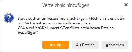 eM Client 8.1: Attach folder as ZIP