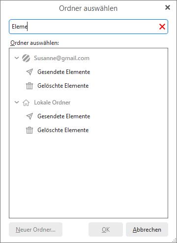 eM Client 8.2: The 'Select folder' filter