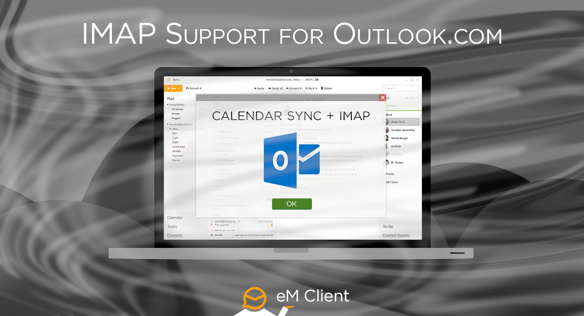eM Client 7 features IMAP/SMTP sync on Outlook.com