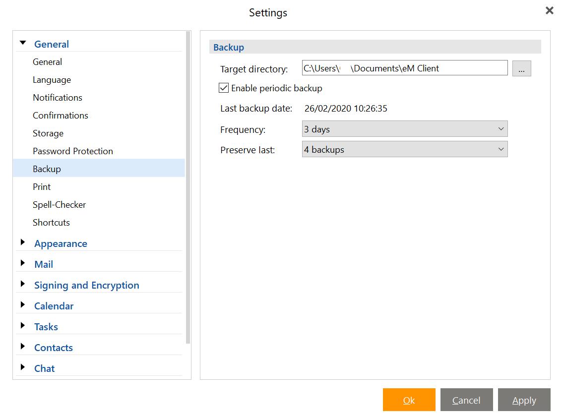 eM Client Backup settings