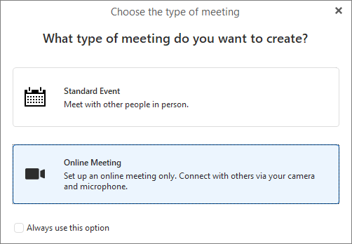 eM Client: Types of meeting
