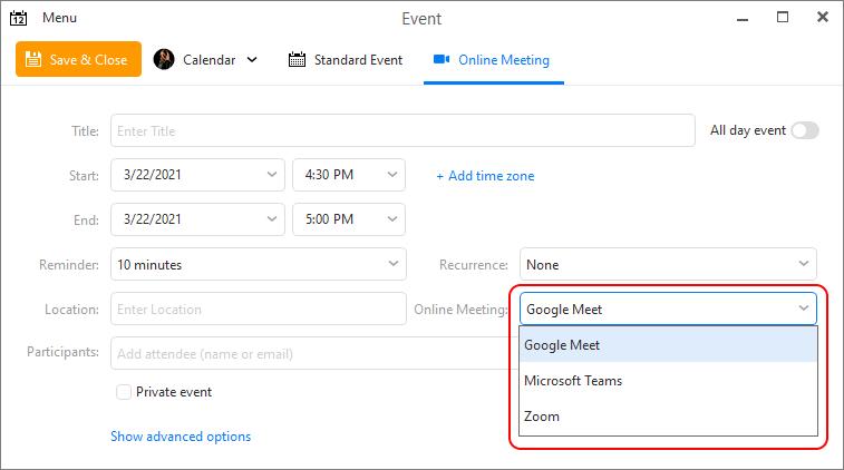 eM Client: Online meeting option in Event window