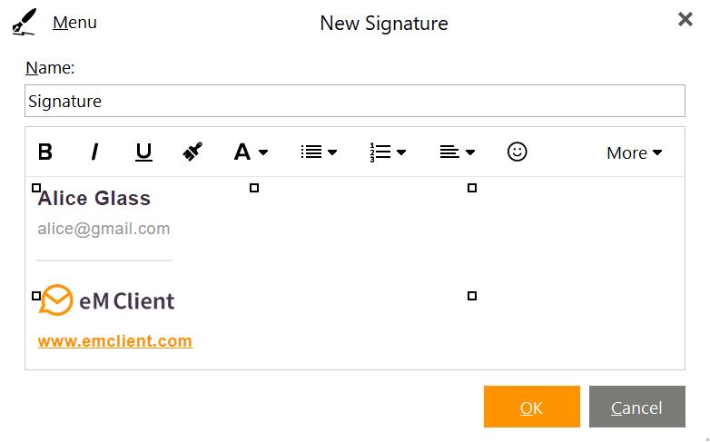 eM Client Signature editor