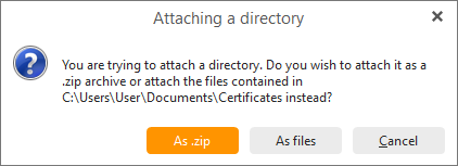 eM Client 8.1: Attach folder as ZIP