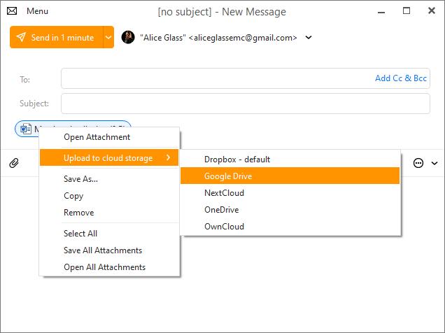 eM Client 8.2: Cloud storage files upload