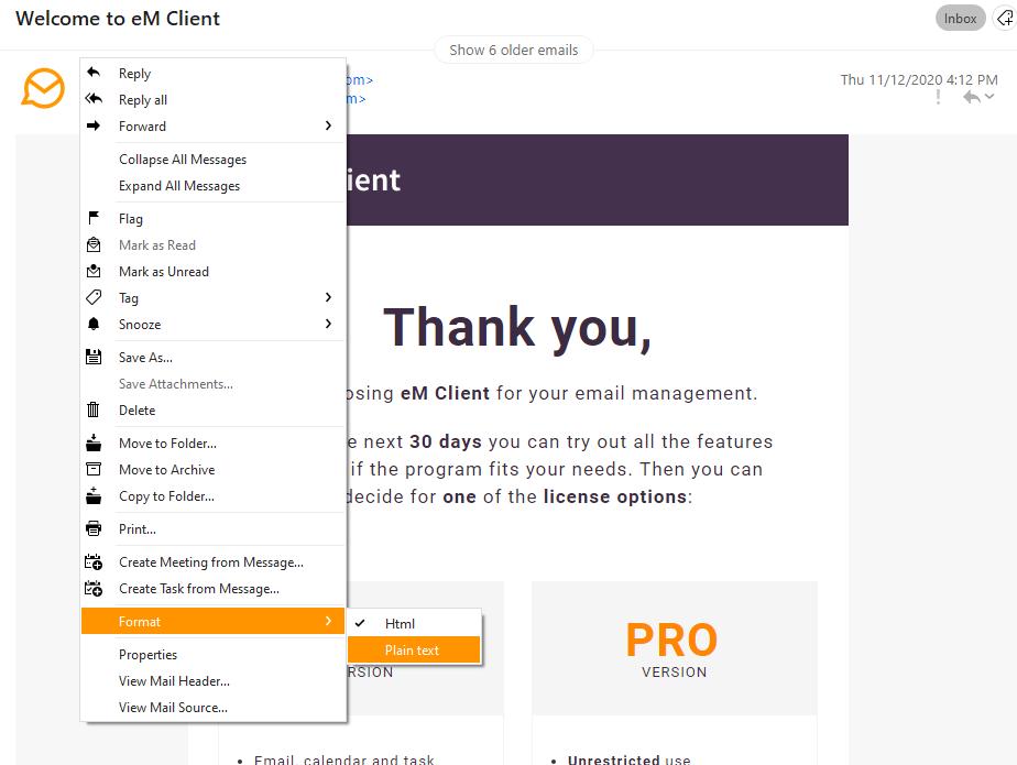 eM Client 8.2: Change format of an email (plain / HTML)