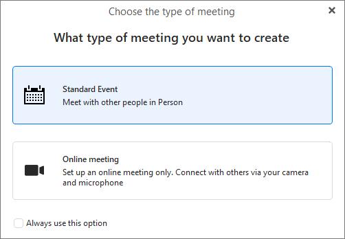 eM Client 8.2: Online Meetings (choose from online vs. standard)