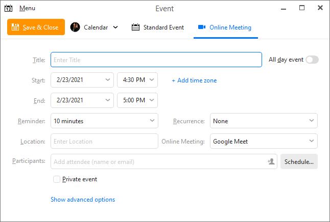 eM Client 8.2: Online Meetings (create online meeting)