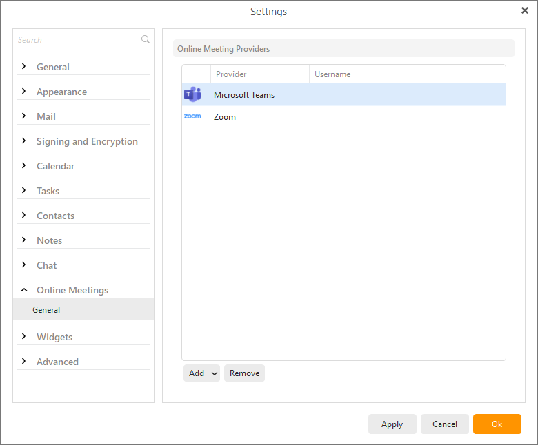 eM Client 8.2: Online Meetings (list of services in Settings)
