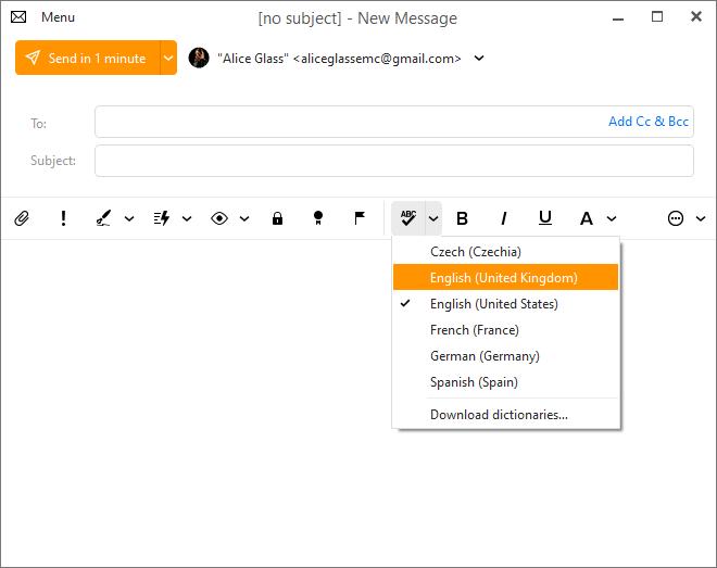 eM Client 8.2: 'Change spellcheck language' button as an optional toolbar menu