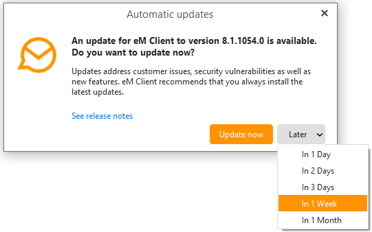 eM Client 8.2: Snooze the update checks