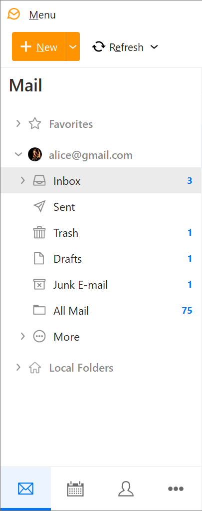 Mail menu