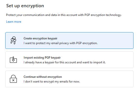 Encryption setup