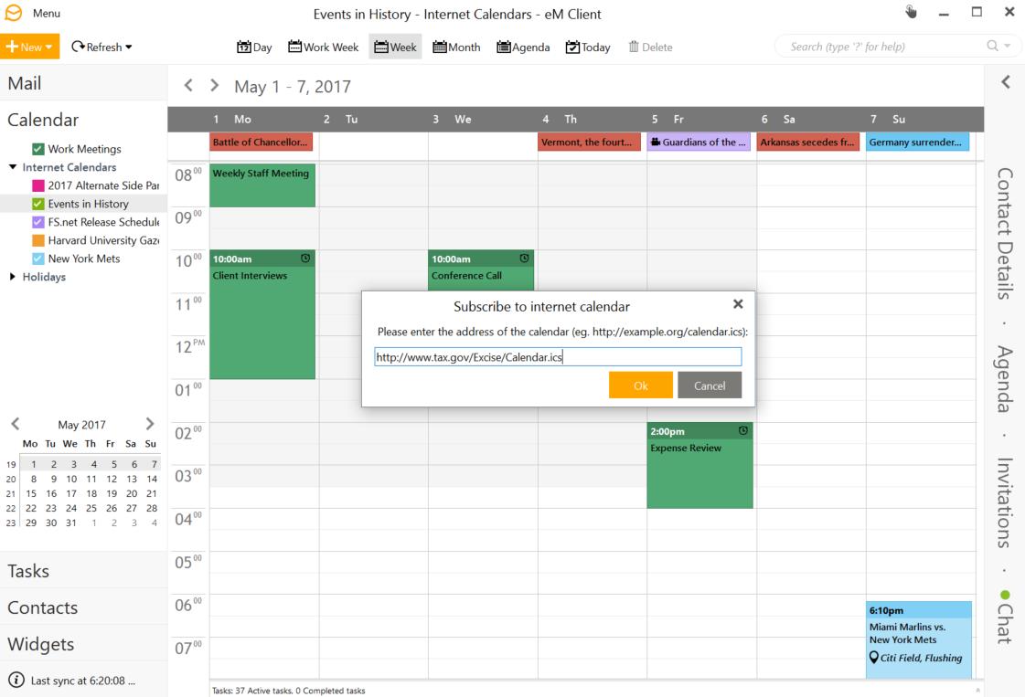Add Internet Calendar